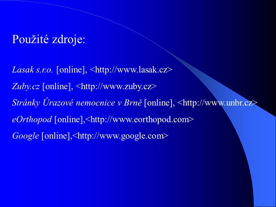Použité zdroje: Lasak s.r.o. [online], <http://www.lasak.cz>